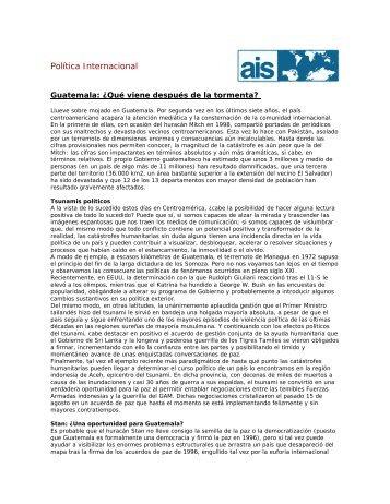 Guatemala: ¿Qué viene después de la tormenta? - Escola de ...