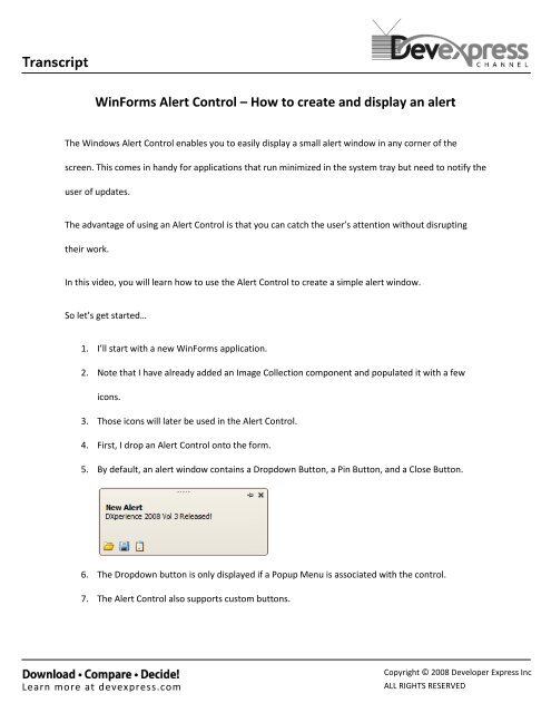WinForms Alert Control – How to create and display