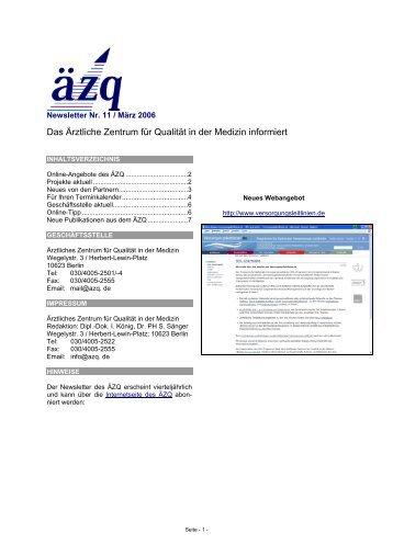 Newsletter Nr. 11 / März 2006 - ÄZQ