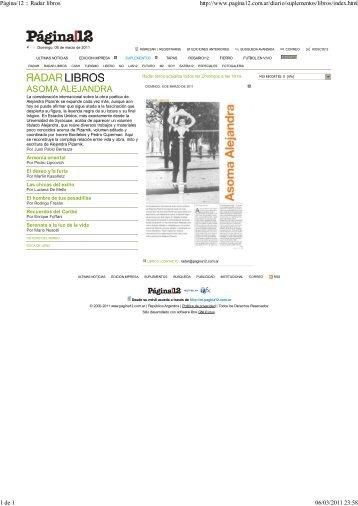 Pagina 12, Radar, 06-03-2011- Asoma Alejandra