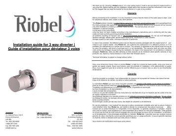 Installation guide for 3 way diverter | Guide d'installation ... - Riobel
