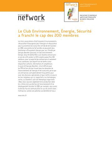 Le Club Environnement, Énergie, Sécurité a franchi le cap des 200 ...