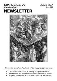 August 2013 Newsletter - Little St Mary's