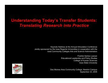 Understanding Today's Transfer Students - CCLP - Iowa State ...
