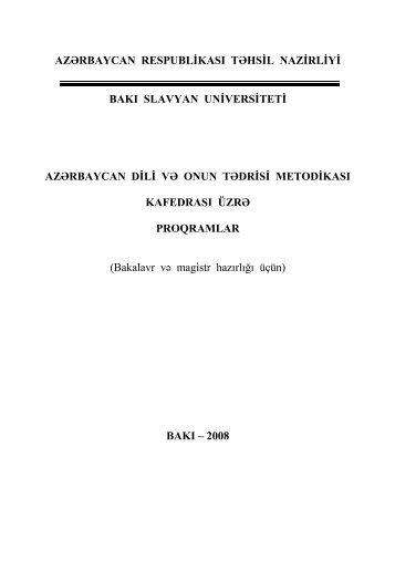 Azərbaycan Respublikası Təhsil Nazirliyi - Bakı Slavyan Universiteti