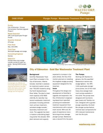 City of Edmonton Pump Project - Wastecorp Pumps