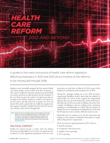 HealtH Care reFOrM - Groom Law Group