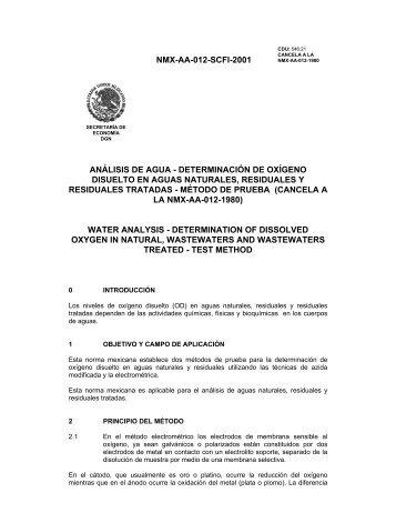 NMX-AA-012-SCFI-2001 ANÁLISIS DE AGUA - DETERMINACIÓN ...