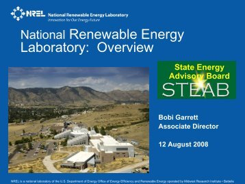 Overview of National Renewable Energy Laboratory (NREL) - steab
