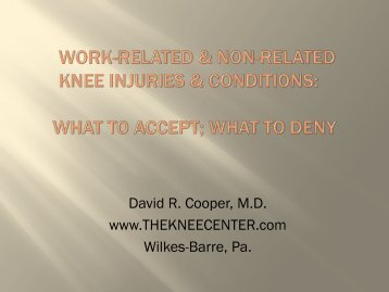 Work-Related & Non-Related Knee Injuries & Conditions ... - NSRP