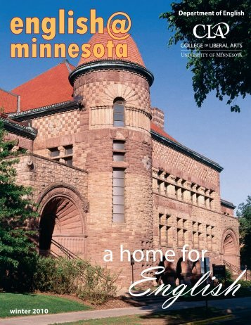 a home for - Department of English - University of Minnesota