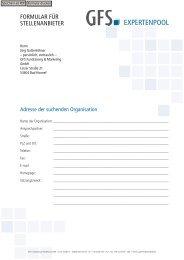 Hinweis zum Datenschutz - GFS Fundraising & Marketing GmbH
