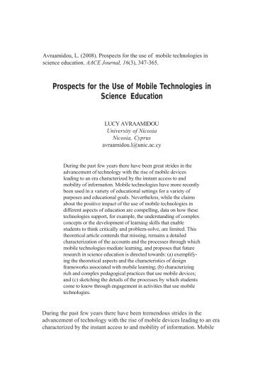 Prospects for the Use of Mobile Technologies in Science Education ...
