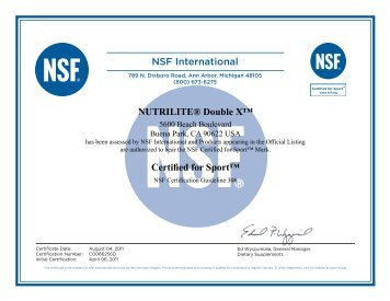 NSF® Certificates - Amway
