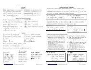 Integrals Cheat Sheet (Reduced) - Pauls Online Math Notes