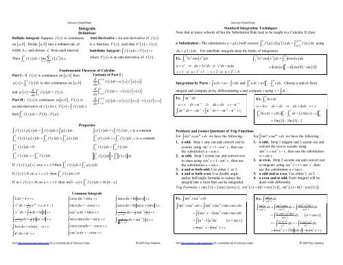 Integrals Cheat Sheet Reduced Pauls Online Math Notes Partial differential equations mate6012 mathematics differential equations, mathematical physics 4 6. integrals cheat sheet reduced pauls