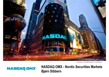 NASDAQ OMX - Nordic Securities Markets Bjørn Sibbern