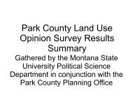 Park County Land Use Opinion Survey Results Summary