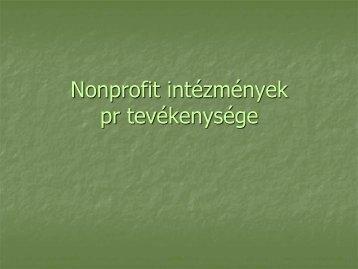 Nonprofit intézmények pr tevékenysége