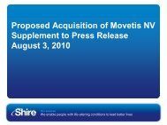 Proposed Acquisition of Movetis NV Supplement to Press ... - Shire