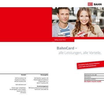 BahnCard – alle Leistungen, alle Vorteile.