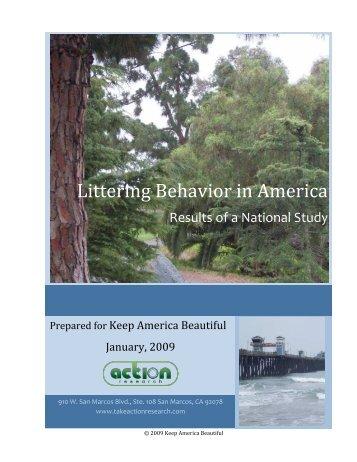 Full Study: Littering Behavior in America - Keep America Beautiful