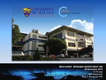 MESYUARAT BERSAMA SEKRETARIAT HIR 28 November 2012 ...