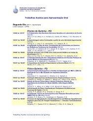 Lista dos Trabalhos Selecionados para Apresentação Oral para ...