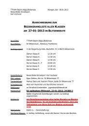 Ausschreibung, sowie eine Klasseneinteilung - TTVWH Bezirk ...