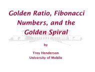 Golden Ratio, Fibonacci Numbers, and the ... - Troy Henderson