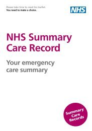 NHS Summary Care Record - NHS Connecting for Health