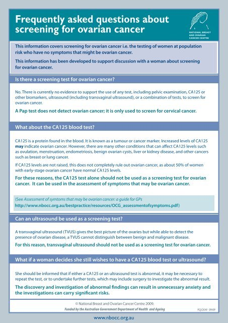 Frequently Asked Questions About Screening For Cancer Australia