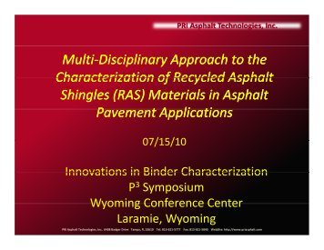 Multi-Disciplinary Characterization of Recycled Roofing Materials for ...