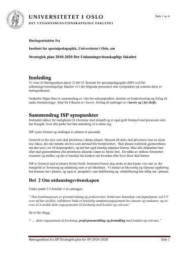Høringsuttalelse fra ISP - Det utdanningsvitenskapelige fakultet
