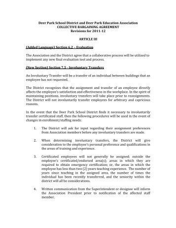 DPEA Revisions for 11-12 - Deer Park Education Association