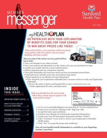 Sanford Health Plan - Member Messenger Fall 2009