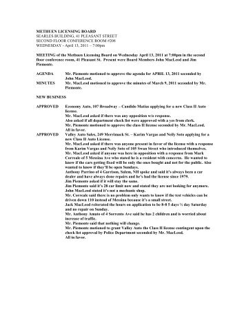 4/13/11 Licensing Board Minutes - Methuen
