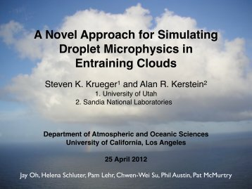 Simulating Droplet Microphysics in Turbulent Clouds - Inscc.utah.edu