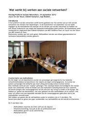 Wat werkt bij sociale netwerken? - verslag 14/9/2012 - Vilans