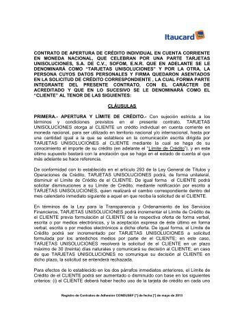 contrato de apertura de crédito individual en cuenta ... - Itaucard