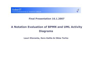 A notation evaluation of bpmn and uml activity diagrams soberit ccuart Gallery