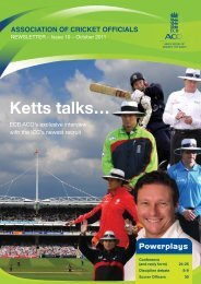 ACO NEWSLETTER - Ecb - England and Wales Cricket Board