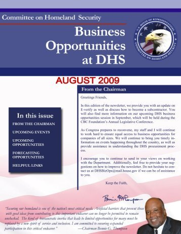 DHS Business Opportunities - August Newsletter - Committee on ...