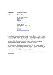 Title of paper The Solvency II Actuary Authors Kathryn Morgan ...
