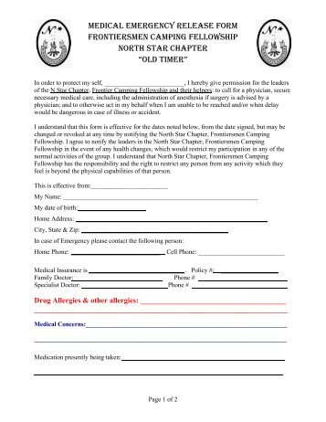 Annual Field Trip Release/Emergency Medical Form Barry County