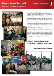 (City Hall) Frankfurt, 1 to 6 pm www.newcomers-festival.de ...