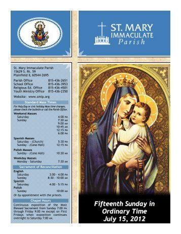 Fifteenth Sunday in Ordinary Time July 15, 2012 - St Mary ...