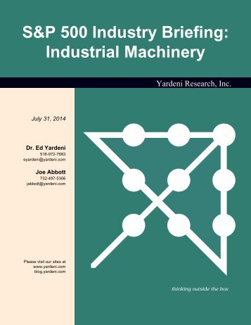 S&P 500 Industry Briefing: Industrial Machinery - Dr. Ed Yardeni's ...