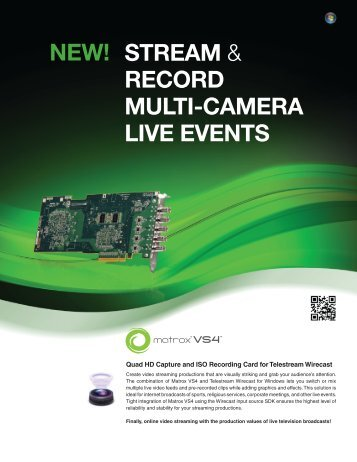 STREAM & RECORD MULTI-CAMERA LIVE EVENTS NEW!