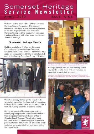 Heritage newsletter, April 2010 - Somerset County Council